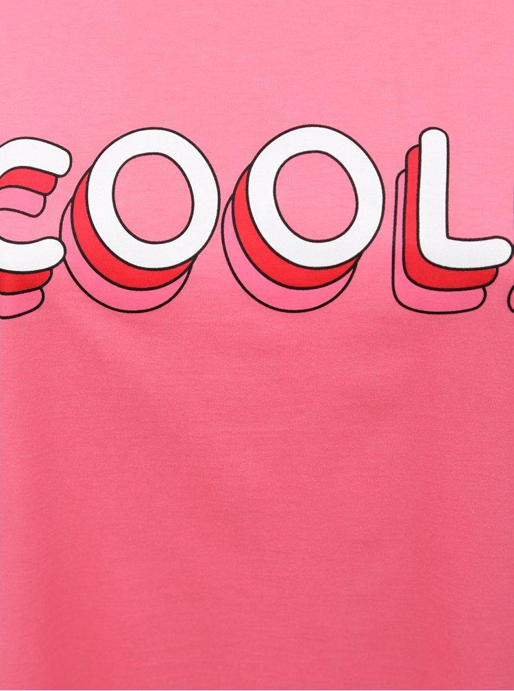 Tricou roz cu print Zizzi