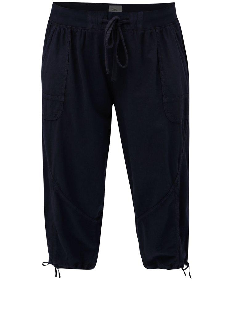 Pantaloni scurti albastru inchis cu banda elastica in talie Zizzi