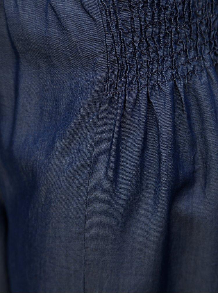 Tmavě modré volné kalhoty s gumou v pase Zizzi