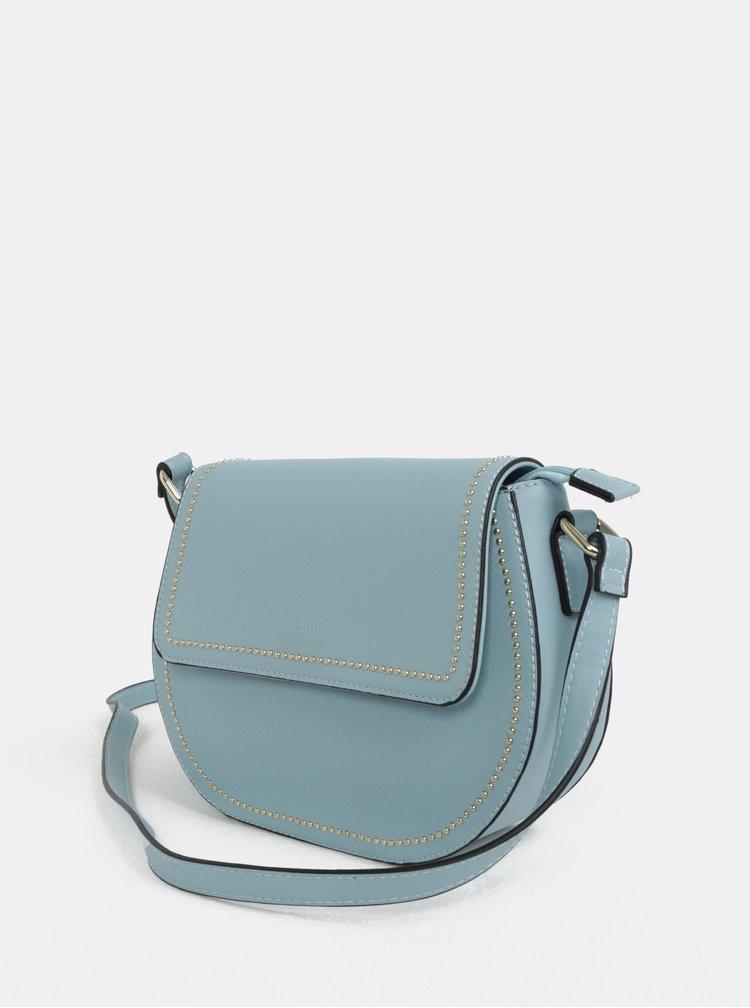 Světle modrá crossbody kabelka s detaily ve zlaté barvě Gionni Tessa