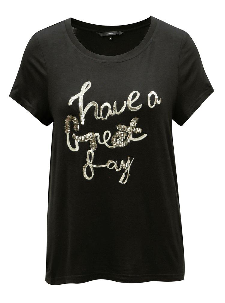 Černé tričko s výšivkou VERO MODA Fally