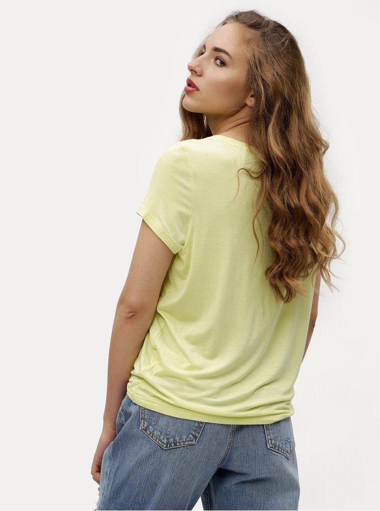 Žluté tričko s výšivkou VERO MODA Fally