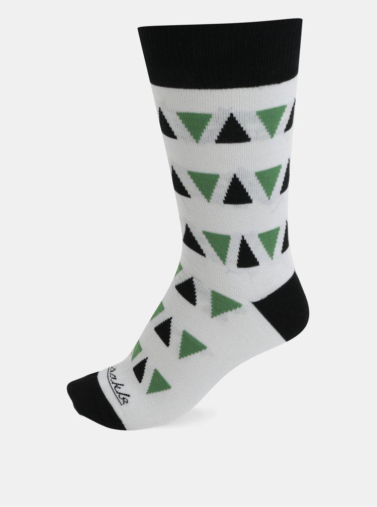 Bílé vzorované unisex ponožky Fusakle Triangel