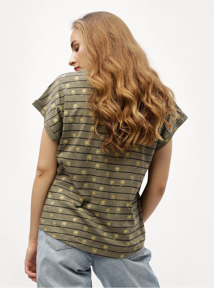 Khaki pruhované tričko VERO MODA Helmer
