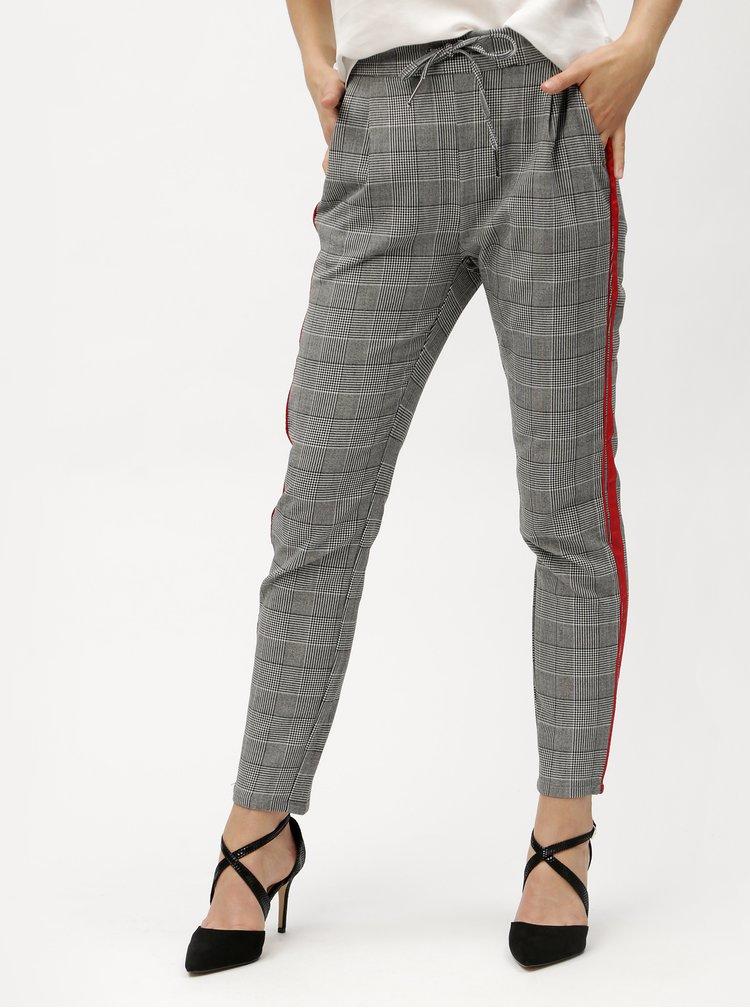 Šedé kostkované kalhoty s červenými pruhy a vysokým pasem VERO MODA Eva