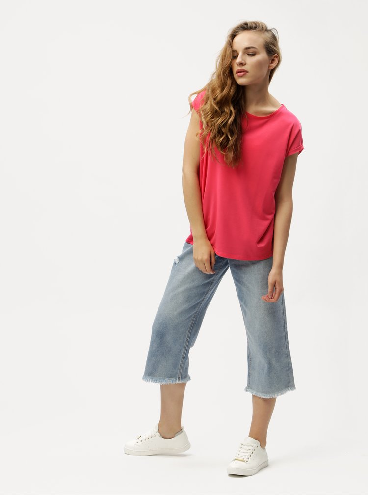 Tmavě růžové oversize tričko VERO MODA Ava