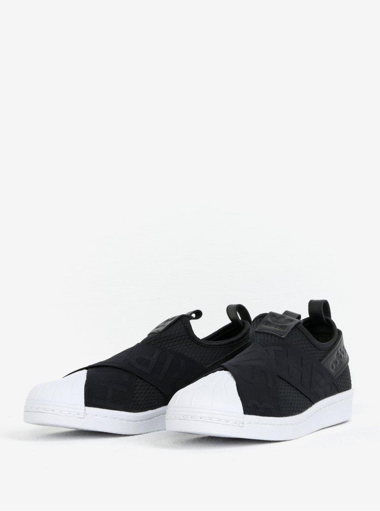 Černé dámské slip on s koženými detaily adidas Originals Superstar Bold