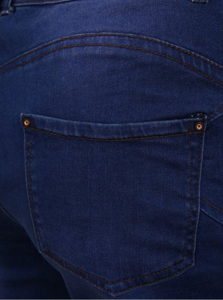 Modré zkrácené straight džíny simply be.