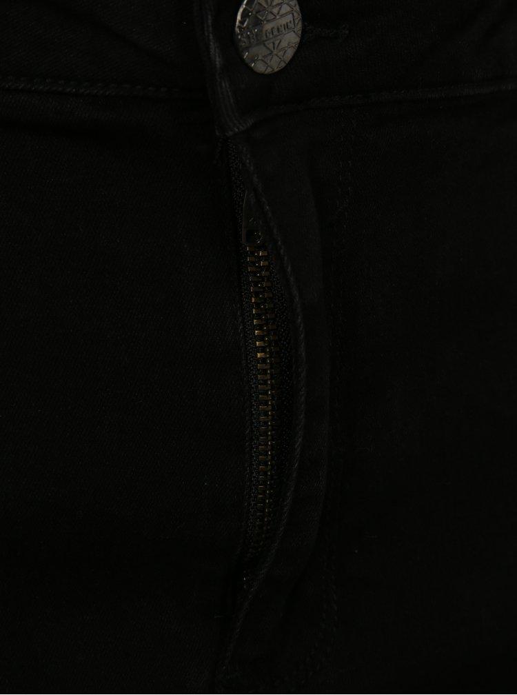 Černé zkrácené skinny džíny s potrhaným efektem simply be.