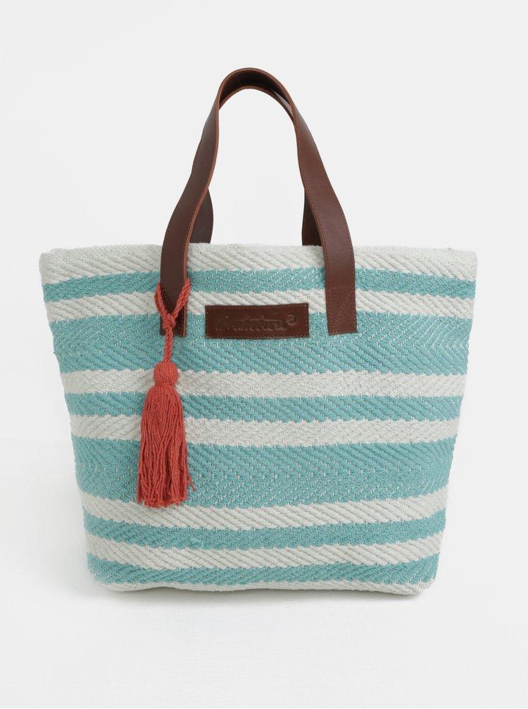 Krémovo-zelená pruhovaná plážová taška Brakeburn