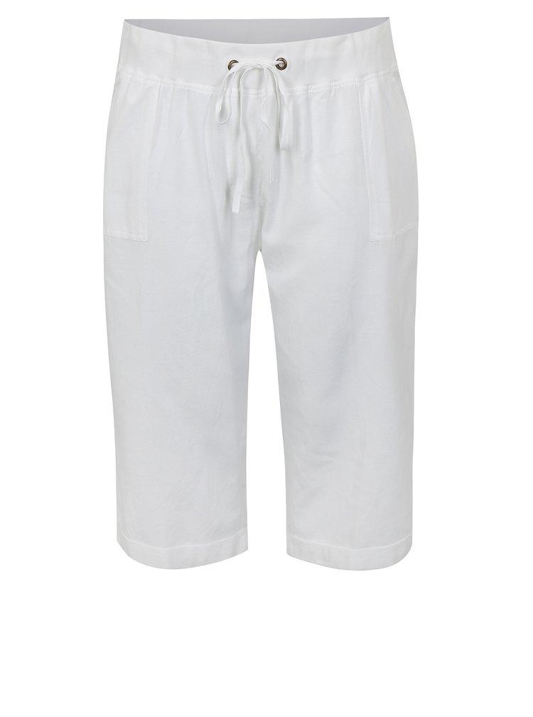 Bílé 3/4 kalhoty s vysokým pasem s příměsí lnu simply be.
