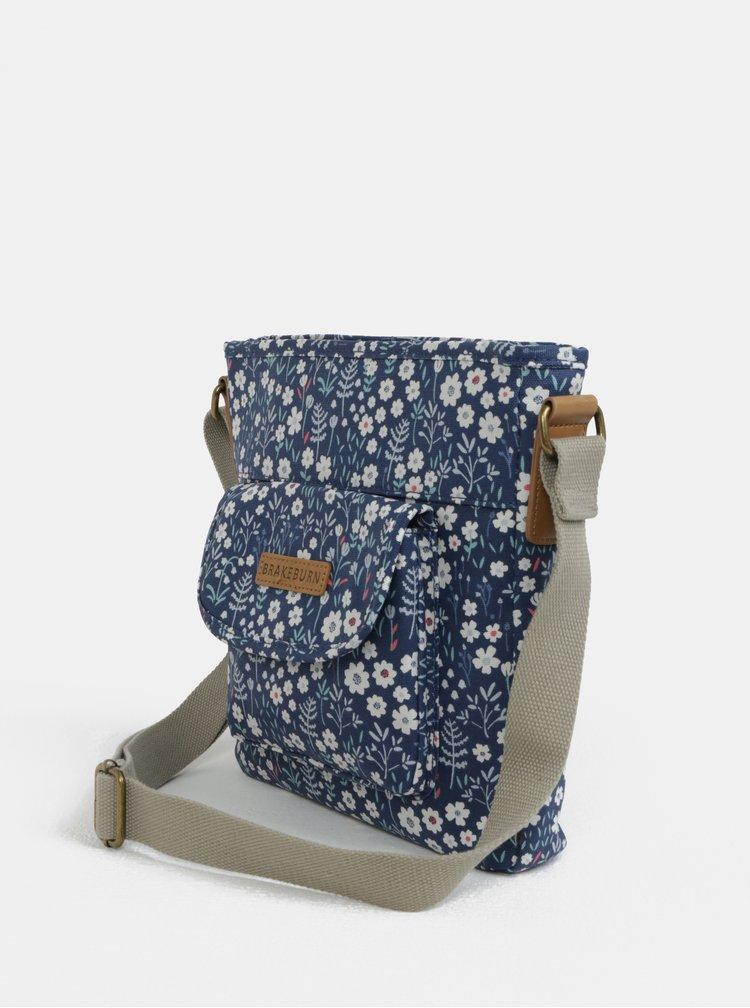 Tmavě modrá crossbody květovaná kabelka Brakeburn