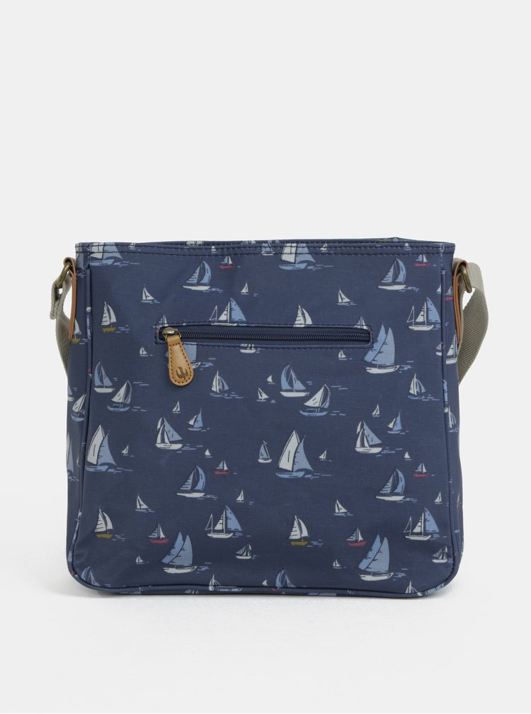 Geanta crossbody albastru inchis cu model de barci cu vele Brakeburn