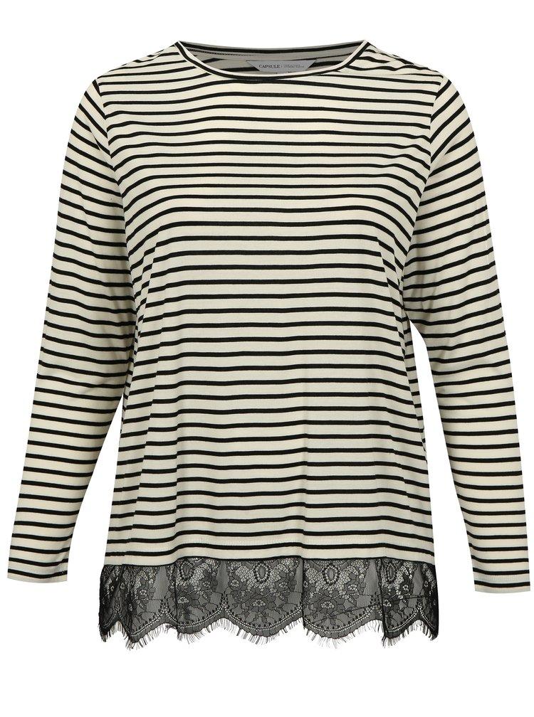 Krémovo-černé pruhované tričko s krajkou simply be.