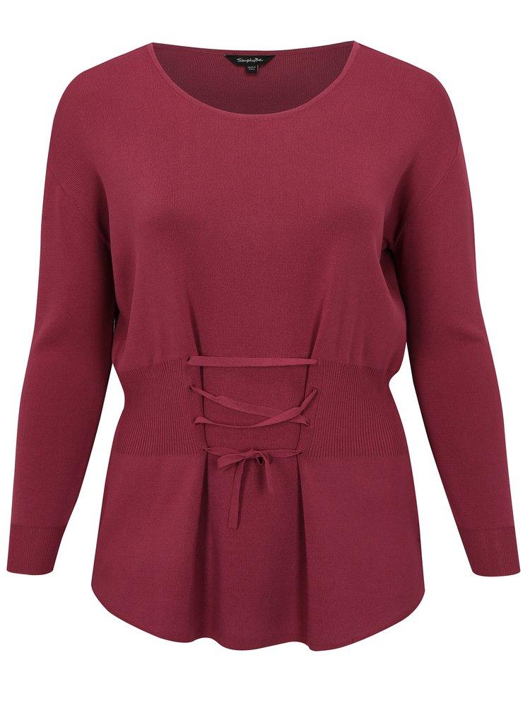 Růžový svetrový top se šněrováním v pase simply be.