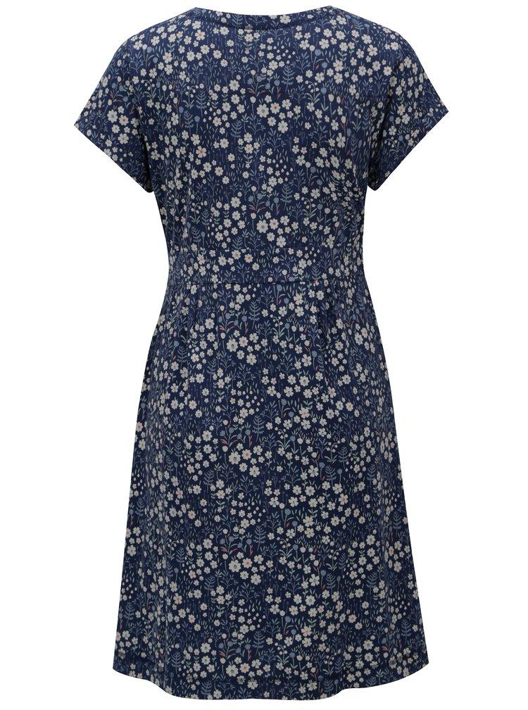 Tmavě modré květované šaty s krátkým rukávem Brakeburn