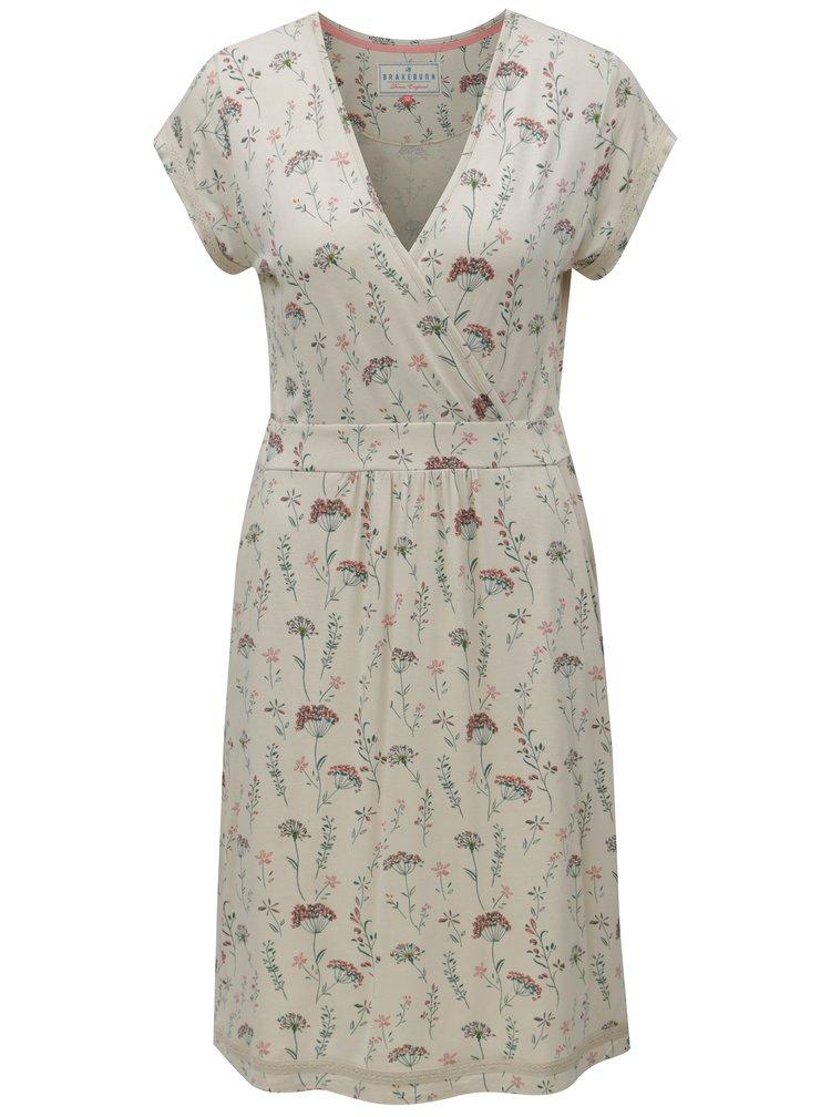 Béžové květované šaty s překládaným výstřihem Brakeburn
