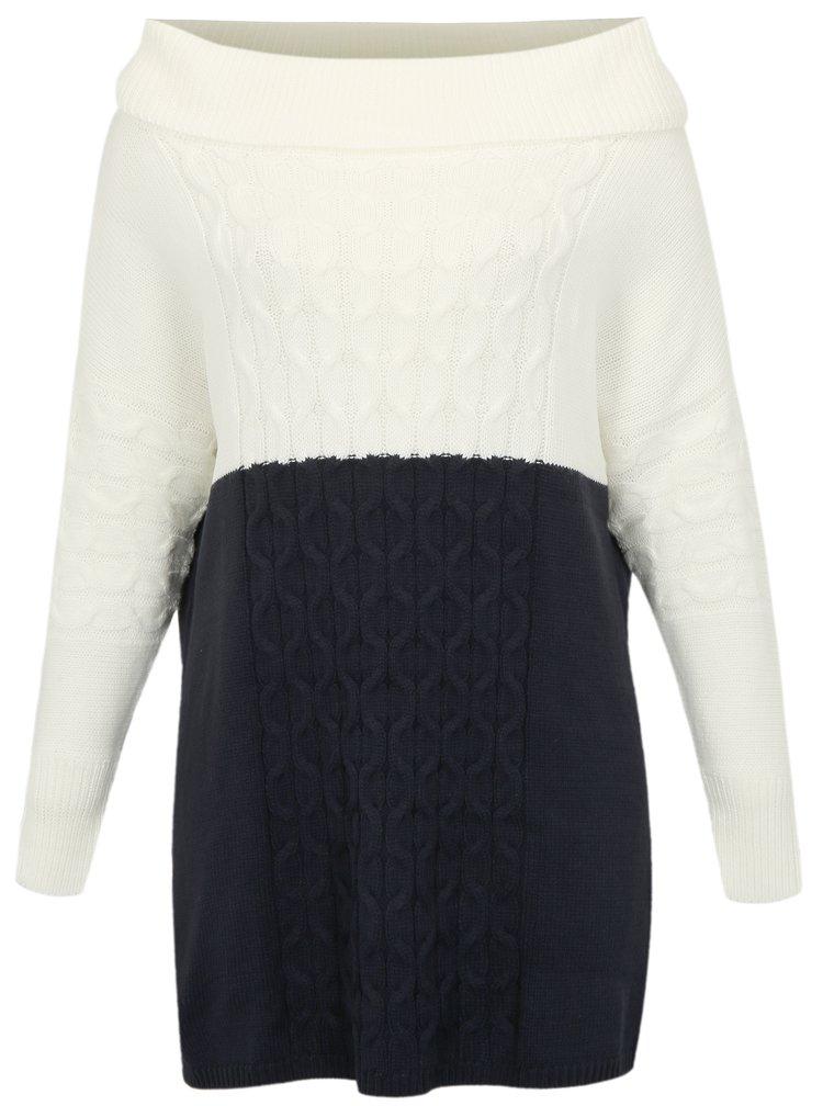 Modro-krémové svetrové šaty s rolákem simply be.