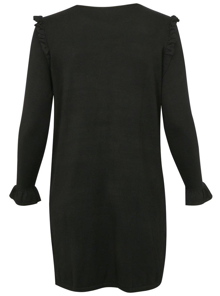 Černé svetrové šaty s volány simply be.