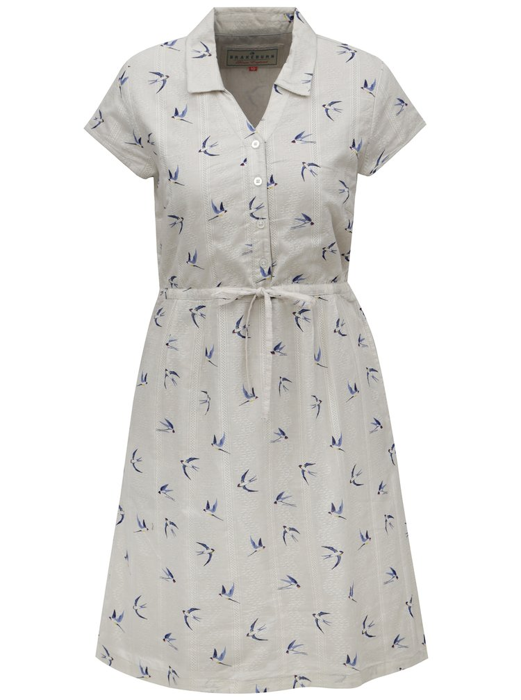 Béžové košilové šaty s motivem ptáčků Brakeburn