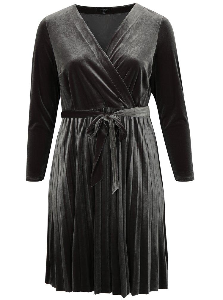 Šedé sametové metalické šaty s překládaným výstřihem simply be.