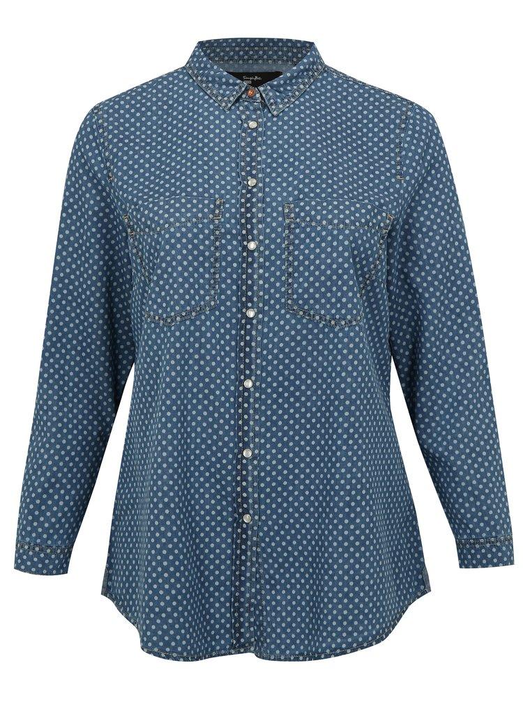 Modrá džínová puntíkovaná košile simply be.