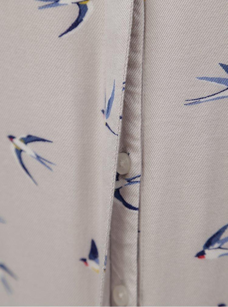 Světle šedá halenka s motivem ptáčků Brakeburn