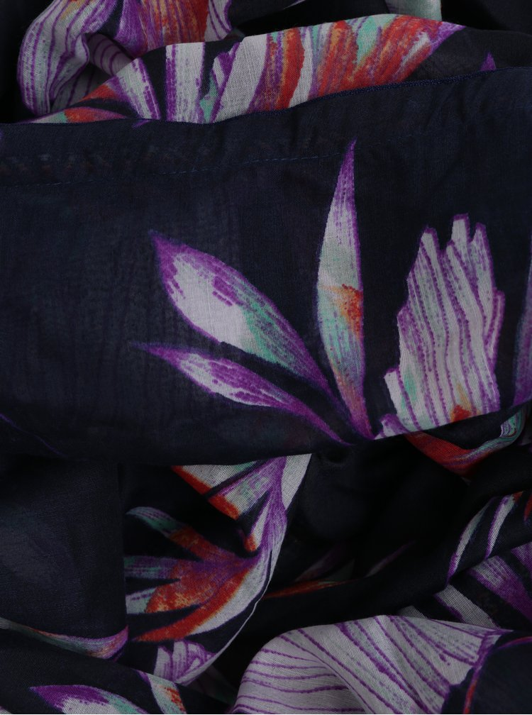 Fialovo-černý květovaný šátek VERO MODA Mahareta