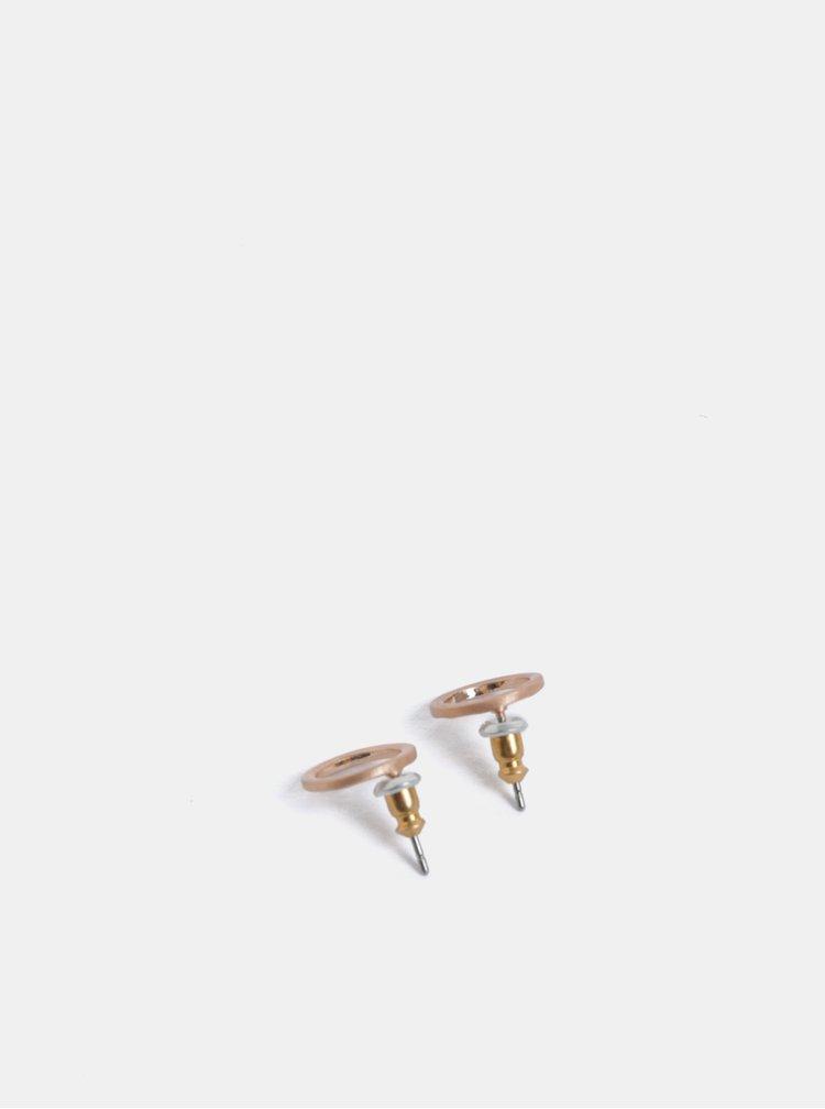 Pozlacené kulaté  náušnice v růžovozlaté barvě Pilgrim