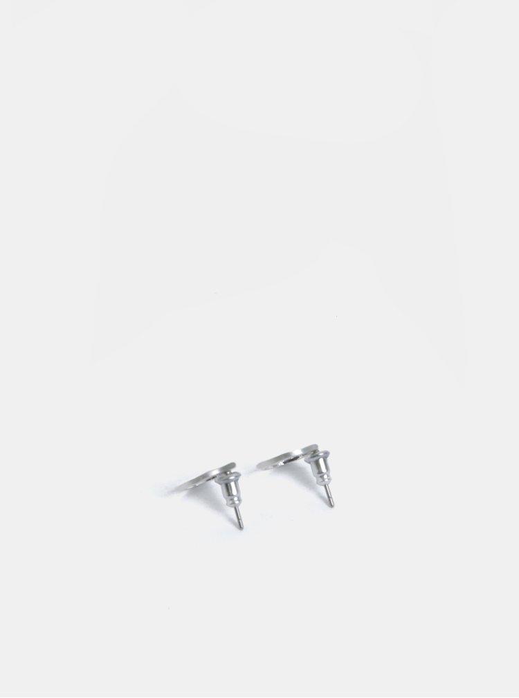 Postříbřené kulaté náušnice ve stříbrné barvě Pilgrim