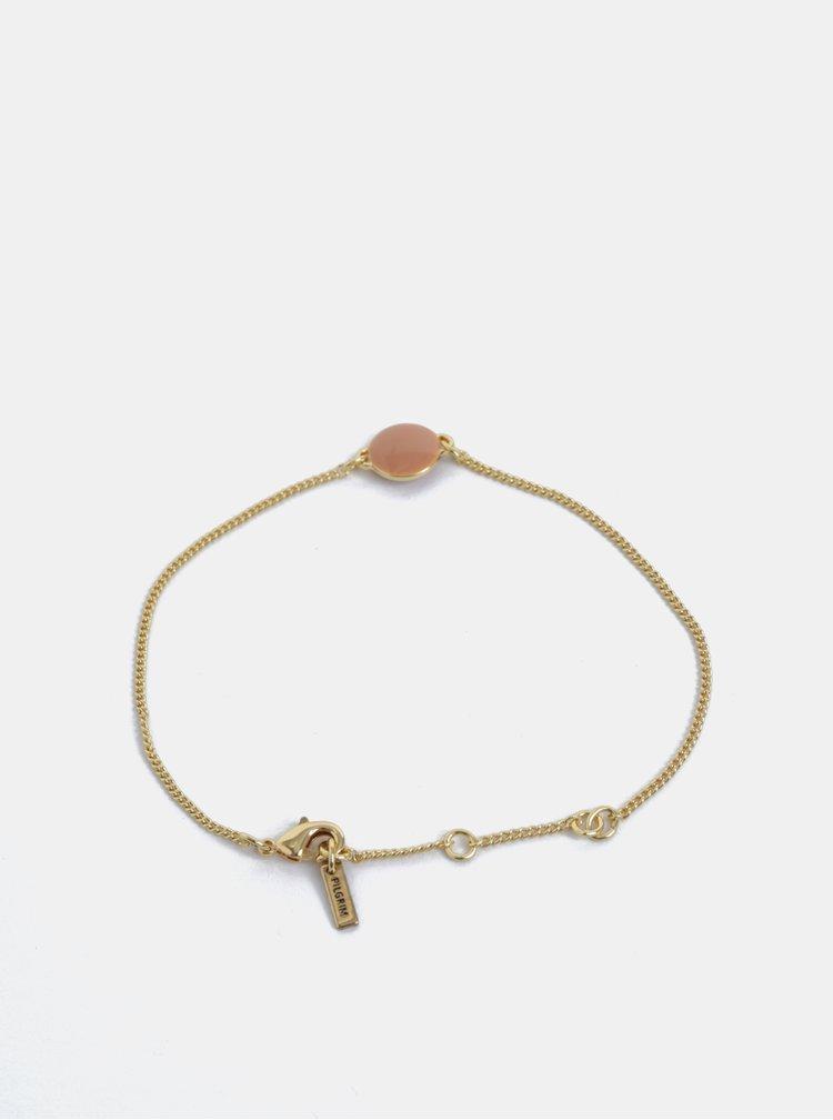 Pozlacený náramek ve zlaté barvě s kamínkem Pilgrim
