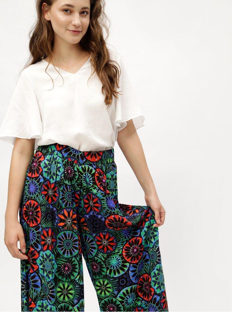 Pantaloni largi albastru-negru cu model Desigual Janelle