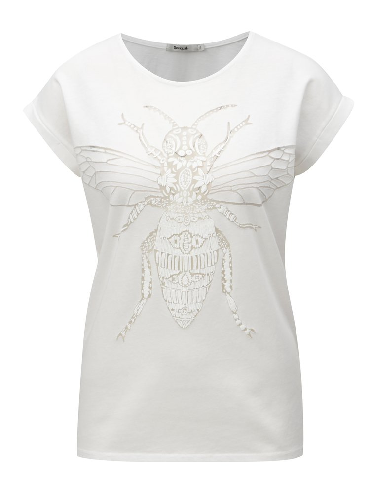 Bílé tričko s průhledným vzorem Desigual Amaryllis