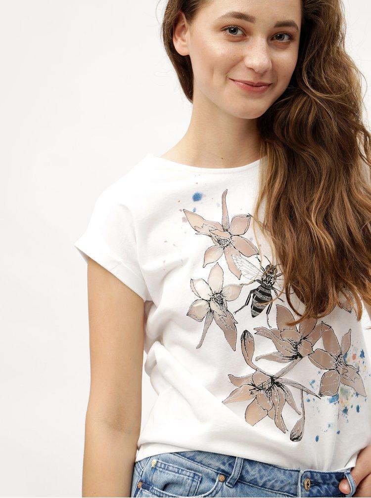 Bílé tričko s průhledným vzorem Desigual Always for you
