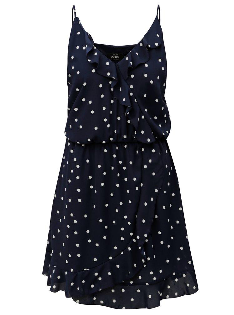 Tmavě modré puntíkované šaty s volánky ONLY Rubbi