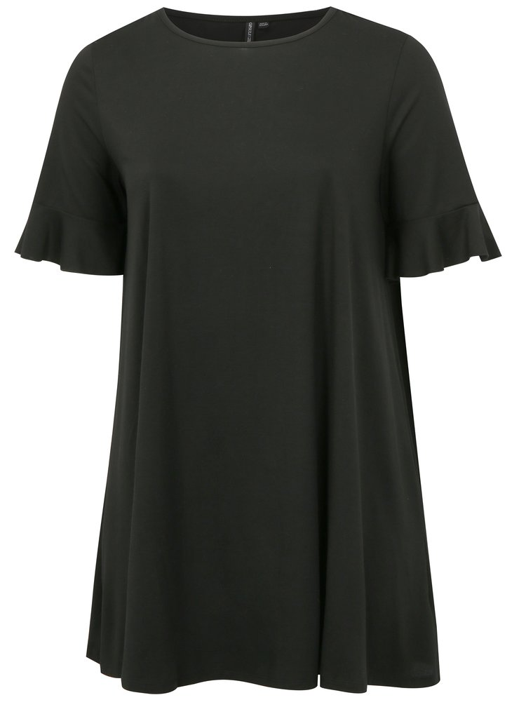 Černé šaty s volány na rukávech simply be.