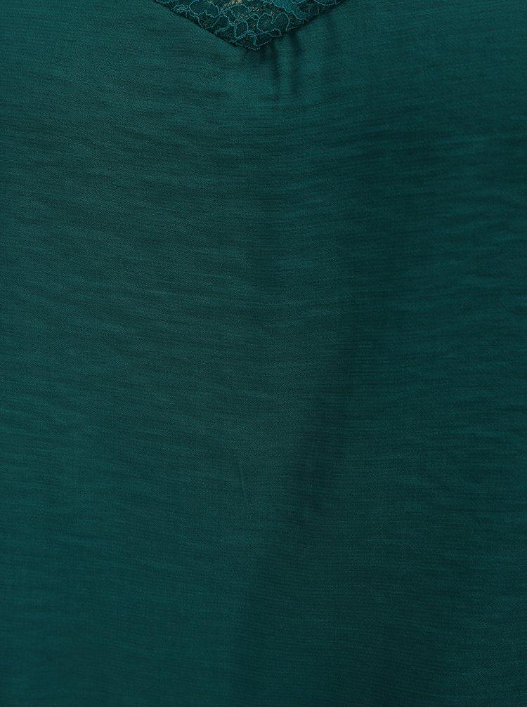 Tmavě zelené tílko s krajkovými detaily ONLY Las Vegas