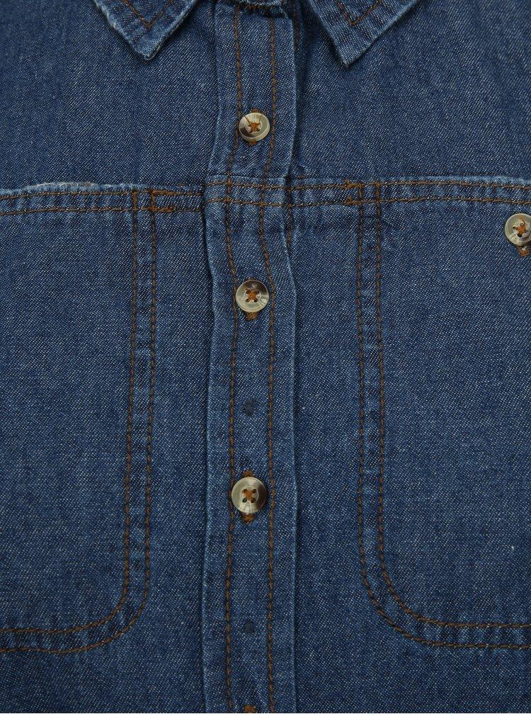 Modré džínové košilové šaty s páskem simply be.