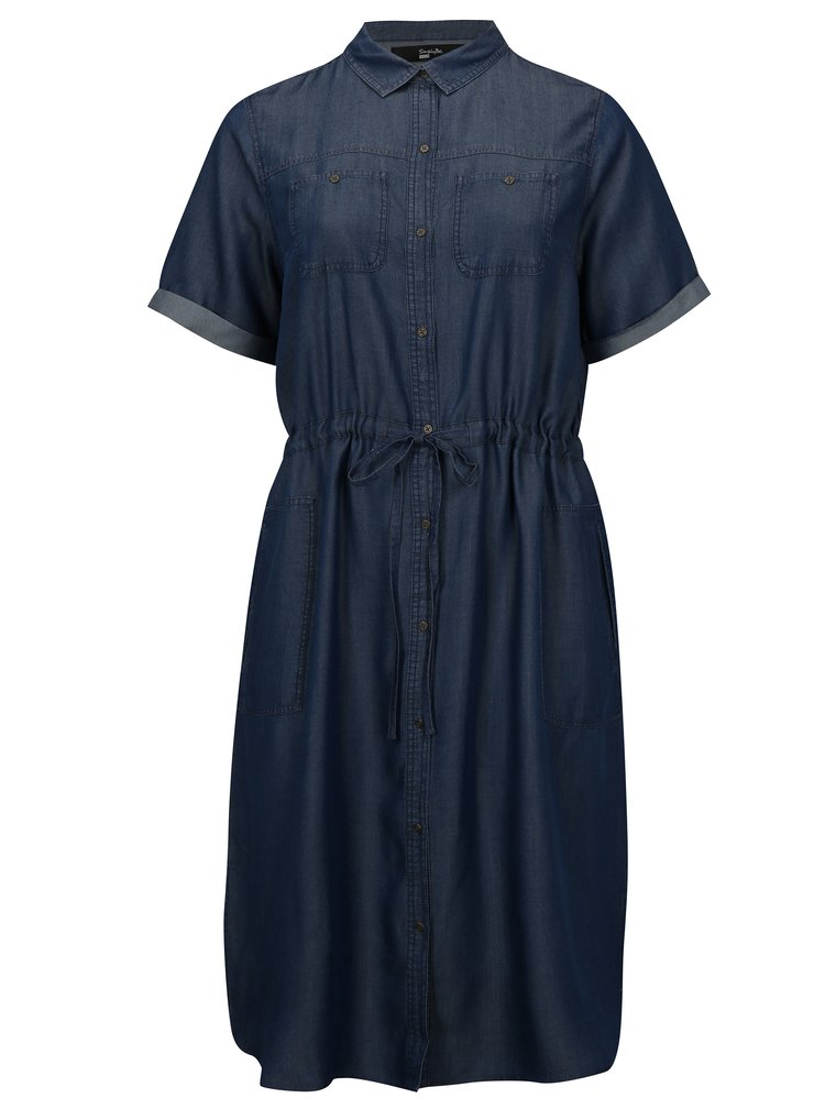 Modré košilové šaty simply be.