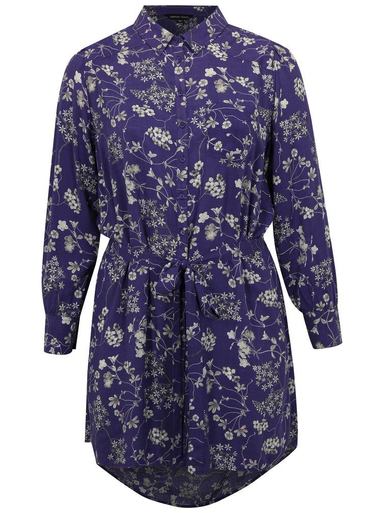Fialové květované šaty s dlouhým rukávem simply be.