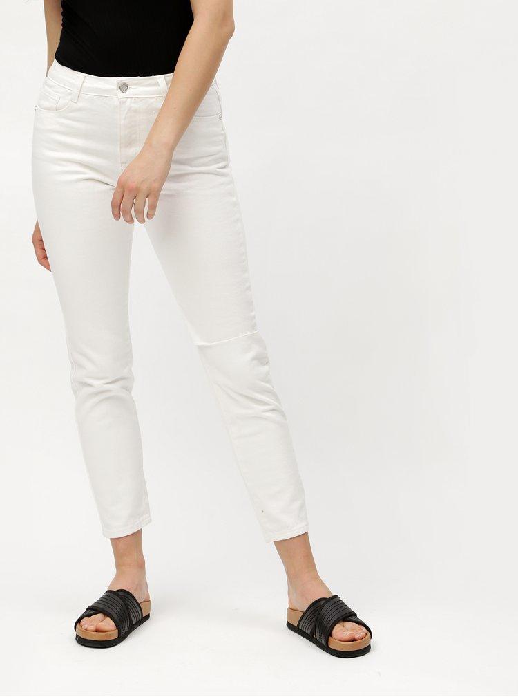 Bílé zkrácené mom džíny s vysokým pasem MISSGUIDED