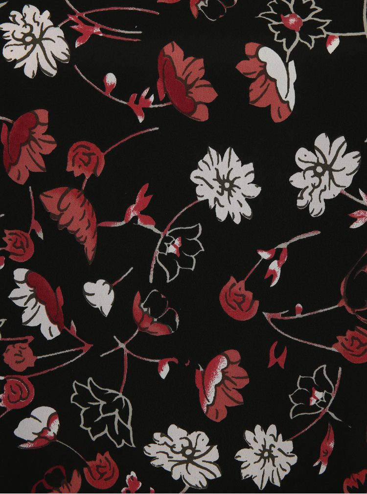 Černé květované šaty s volány na rukávech simply be.