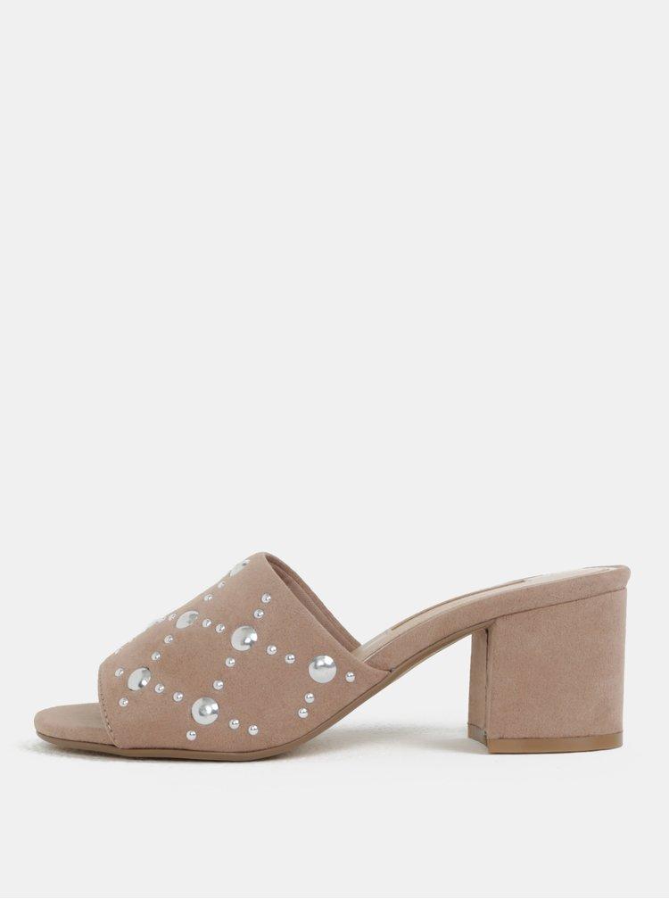 Béžové pantofle v semišové úpravě na podpatku Dorothy Perkins