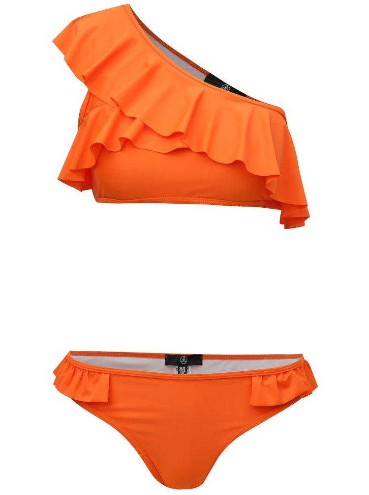 Oranžové dvoudílné plavky s volánem MISSGUIDED