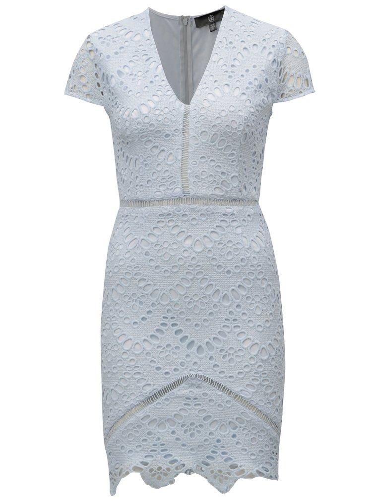 Světle modré krajkové pouzdrové šaty MISSGUIDED