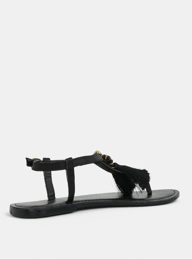 Sandale negre cu franjuri Dorothy Perkins