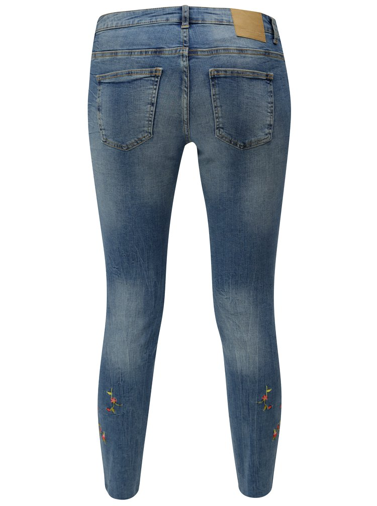 Modré skinny džíny s výšivkou Jacqueline de Yong Skinny