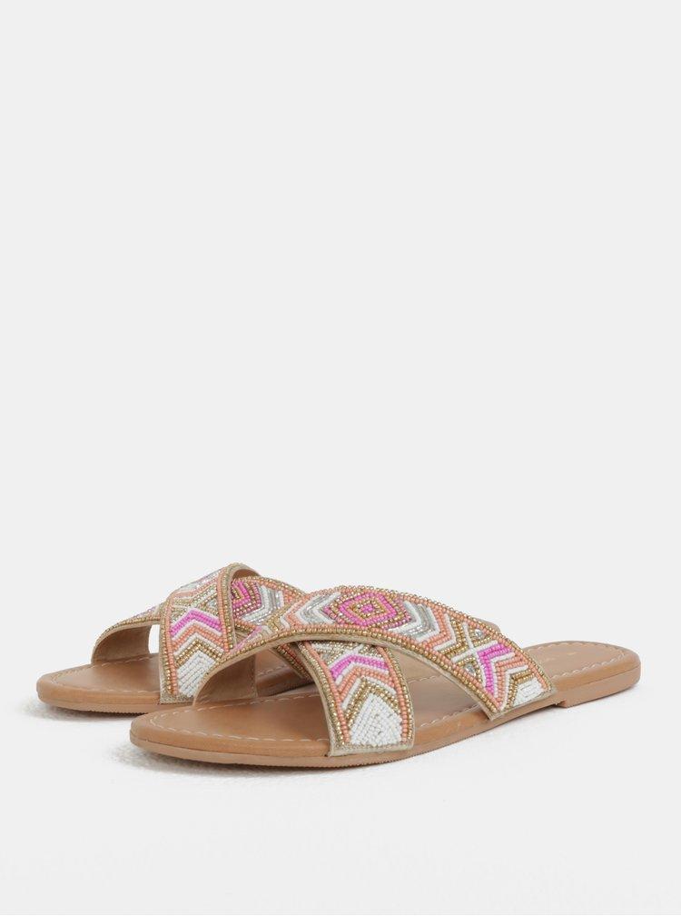 Růžovo-hnědé pantofle s korálky Dorothy Perkins