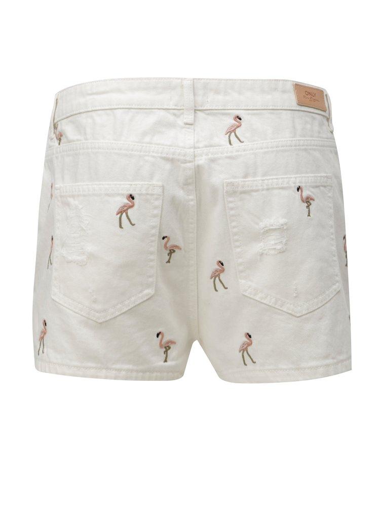 Pantaloni scurti albi din denim cu broderie ONLY Flamingo