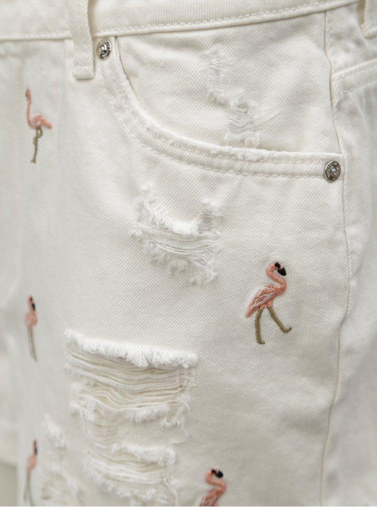 Bílé džínové kraťasy s výšivkou ONLY Flamingo